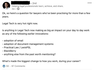 LinkedIn Post über Legal Tech