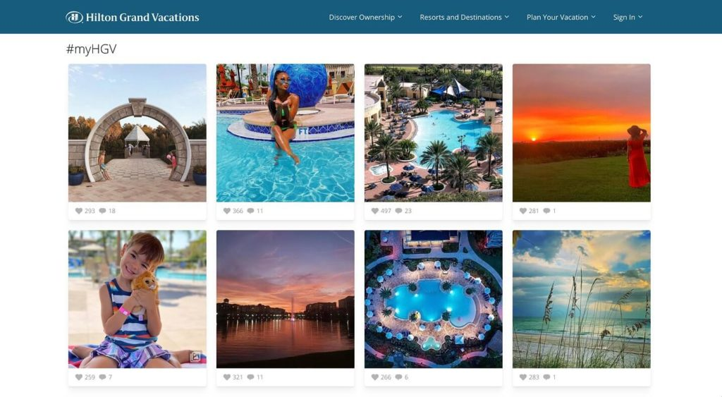 Hilton Grand Vacation mit User Generated Content